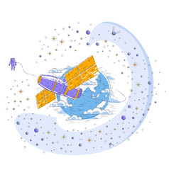 Space station orbiting around earth spaceflight vector