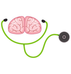 stethoscope and human brain on white background vector image