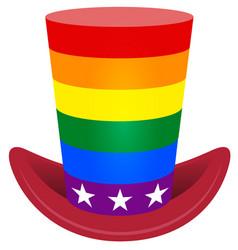 striped rainbow flag uncle sam hat symbol lgbt usa vector image