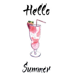 Summer cocktail hand drawn vector