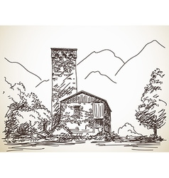 Svan tower vector image