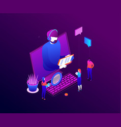 technical support - modern colorful isometric vector image