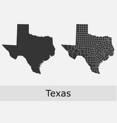texas map counties outline vector image