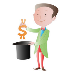 the business magician making money disappear vector image