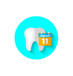 tooth and calendar in a flat design vector image