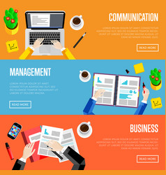 Top view office workspace website templates vector