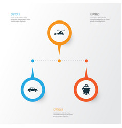 transportation icons set collection of automobile vector image
