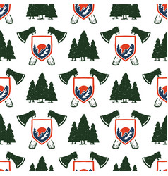 vintage woods camp seamless pattern background vector image