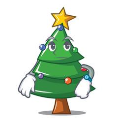 Waiting christmas tree character cartoon vector