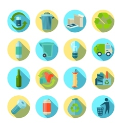 Waste Sorting Round Icons Set vector image