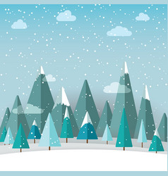 Winter landscape with christmas trees and snow on vector