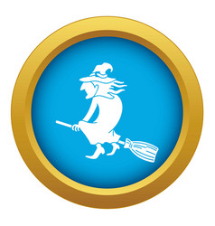 witch on broom icon blue isolated vector image