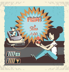 Woman playing video game retro vector