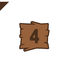 wooden alphabet blocks with number 4 in wood vector image