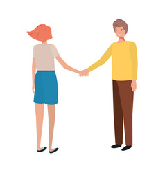 young couple holding hands avatar character vector image
