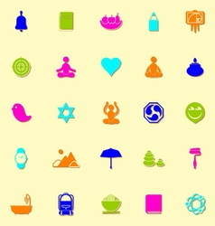 Zen society neon icons with shadow vector