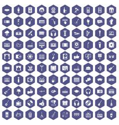 100 karaoke icons hexagon purple vector image vector image