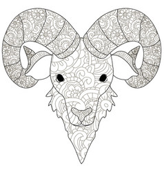 adult antistress coloring head of a ram pattern vector image