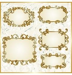 floral swirly golden frames vector image