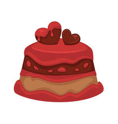 sweet chocolate cupcake decorated with red hearts vector image