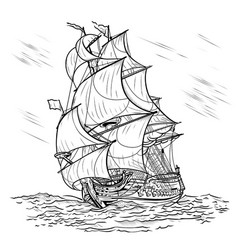 Wind-driven ship on a white background vector