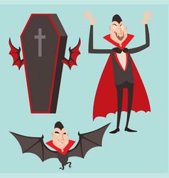cartoon dracula symbols vampire icons vector image