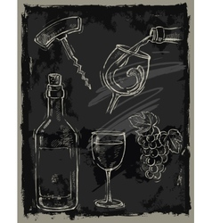 chalk wine vector image vector image