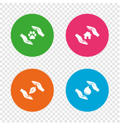 hands insurance icons save water and nature vector image