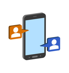 mobile chatting symbol flat isometric icon or vector image