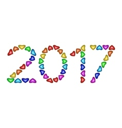 Numbers of year 2017 made from multicolored hearts vector image