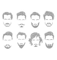 set beard hair mustache man silhouette vector image