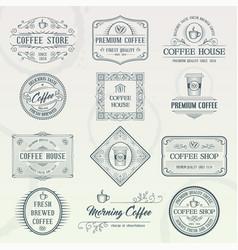 set of vintage coffee badges vector image