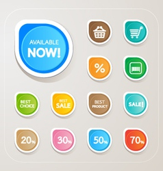 Shopping Sticker colorful set vector image