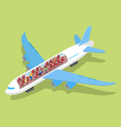 air plane interior with passengers isometric vector image