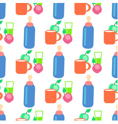 baby food cartoon seamless pattern vector image
