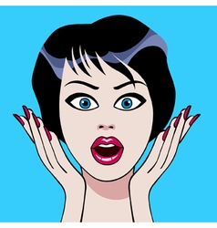 cartoon face surprises brunette woman vector image vector image