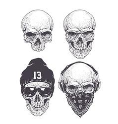 Dotwork Skulls Set vector image
