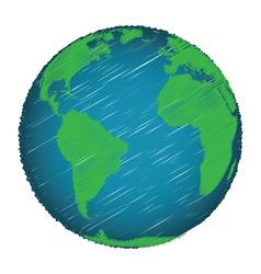 Earth sketch hand draw vector