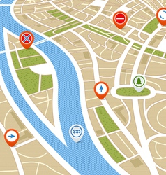 Perspective background of abstract city map vector image