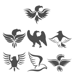 set icon of eagles symbol isolated on white vector image