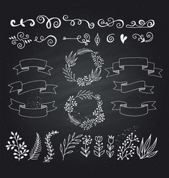 set of design elements floral hand drawn vector image vector image