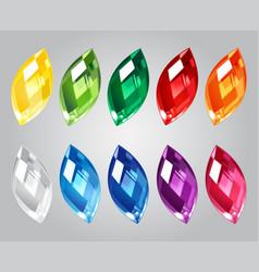 set of gem stones on gray background vector image