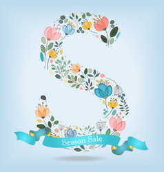 floral letter s with blue ribbon vector image vector image