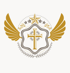 heraldic coat of arms decorative emblem with bird vector image vector image