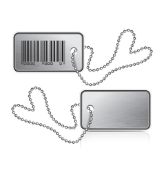 metallic tag and chain vector image vector image