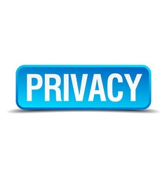 Privacy blue 3d realistic square isolated button vector image vector image