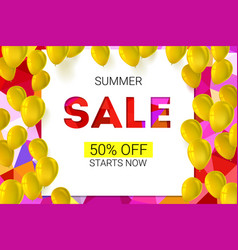 sale banner on low poly background with inflatable vector image vector image