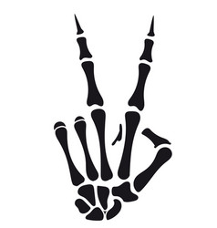 skeleton hand victory sign vector image vector image