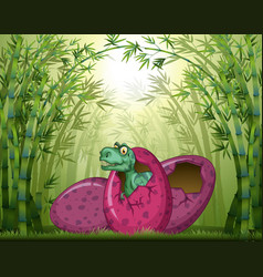 t-rex hatching egg in bamboo forest vector image vector image