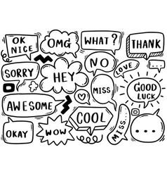 0118 hand drawn background set cute speech vector